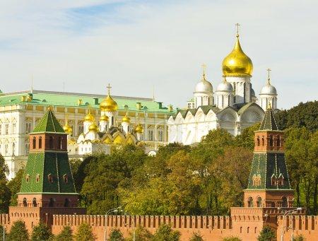 Постер, плакат: Moscow Kremlin cathedrals, холст на подрамнике