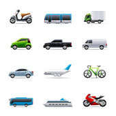 Transportation icon series in colors EPS 10 AI PDF & transparent PNG of each icon included