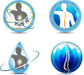 Human back and spine vertebral column health care design Abstract medical symbols