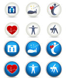 Good sleep fitness and other Healthy living icons Two styles white and blue Fitness healthy weight good sleep leads to healthy heart and life