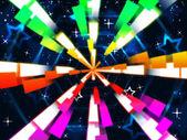 Színes gerendák háttér: csillagok és hexagona