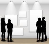 Völker-Silhouetten, die auf der Suche auf dem leeren Rahmen