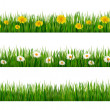 Постер, плакат: Three nature backgrounds of green grass with dandelions and dais