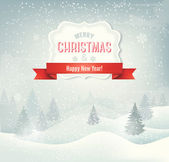 Retro holiday christmas background with winter landscape Vector