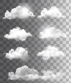 Satz von transparent verschiedene Wolken. Vektor