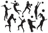 Vektorové siluety žen plážový volejbal