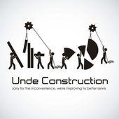 In costruzione, edificio con sagome di barre, vettoriale illustrazione