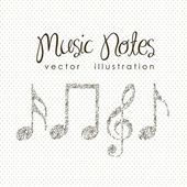 Illustration of musical notes forming a larger note music sound vector illustration
