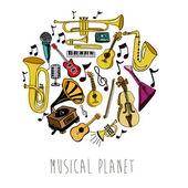 Musical planet over white background vector illustration