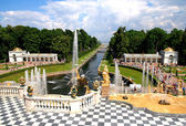 Grand Cascade and sea canal in Peterhof palace.  Palace and Park was included in the UNESCOs World Heritage List in 1991.