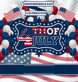 4th of July Vector Design template inspired with US independence day theme balloons and red white and blue combinations Flyer is fully layered and easy to edit
