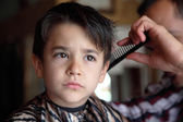 Young boy at barber shop