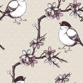 Vektor vintage varrat nélküli mintát kézzel rajzolt virágzó gyümölcs fa gallyat és a madarak