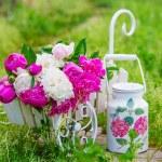 Постер, плакат: Garden still life with delicate peonies