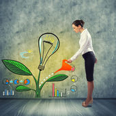 Podnikatelka zalévání kreativní nápad