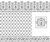 Seamless patterns set for wrought iron railing grating lattice gates fence Black silhouette