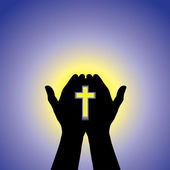 Személyt imádkozik, vagy imádja a kereszt a kézben - koncepció szeretnénk