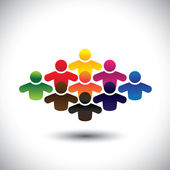 Abstract colorful group of people or students or children - concept vector The graphic also represents people icons in various colors forming a community of workers employees or executives