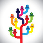 Concept tree of company employees working together as a team The vector graphic represents the structure of a company with people relationship between close circle of family members