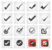 Tick mark or right sign vector icons collection set This graphic can also represent approval right choice correct selection true option positive answer saying yes acceptance confirmation etc