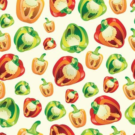 无缝的蔬菜和水果图案矢量