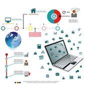 Vektorové ilustrace plánu podnikání laptop