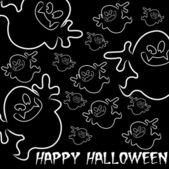 Ghost ručně kreslenými happy halloween karta