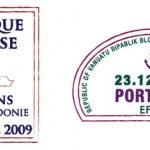 Постер, плакат: Stylised Sydney Vanuatu and New Caledonia Passport Stamps