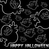 Ghost ručně kreslenou happy halloween kartu ve vektorovém formátu