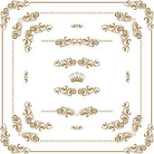 Vector set of gold decorative horizontal floral elements corners borders frame dividers crown Page decoration
