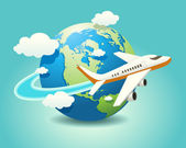 Vector illustration of airplane travel on globe