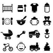 Baby and newborn icon set in black