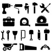 Tool and hardware icon set in black