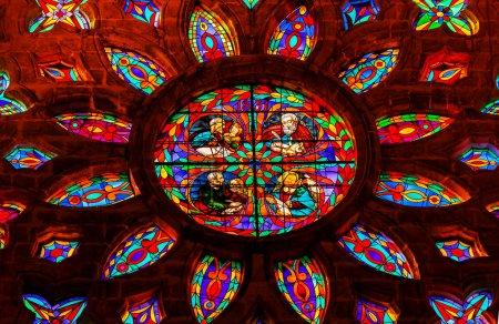 Постер, плакат: Gospel Writers Stained Glass Rose Window Cathedral of Saint Mary, холст на подрамнике
