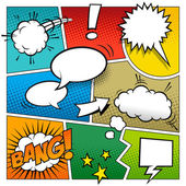 A high detail vector mockup of a typical comic book page with various speech bubbles symbols and sound effects and colored Halftone Backgrounds