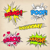 Collection of five multicolored comic sound Effects with a grunged Print Style