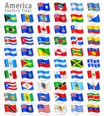 Vector Collection of all America National Flags in simulated 3D waving position with names and grey shadow Every Flag is isolated on its own layer with proper naming