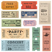 A collection of 11 vector grunted Tickets Vector file is organized with layers with every ticket divided into 3 layers separating Background Shape from the texture effect and text