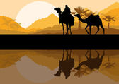 Camel caravan in wild desert mountain nature landscape background illustration vector