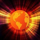 Globální oteplování koncept s hořící koule jako slunce vektorové pozadí