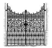 Wrought Iron Gates, vintage engraved illustration
