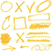 Vector highlighter elements yellow hand drawn