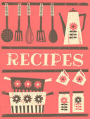 Retro style recipe card with kitchen items