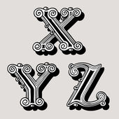 Retro vintage illustration of alphabet lettersRetro vintage illustration of alphabet letters in caps the X Y Z in the antiqua design in black and white over a sepia background