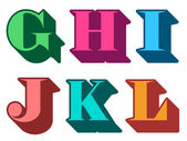 Colourful alphabet letters serif in three-dimensional uppercase with the letters G H I J K L represented typographical vector illustration