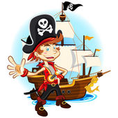 An Illustration Of Pirate Kid Holding Sword And Smiling With Background Of Big War Ship