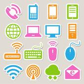 A mobil eszközök, a számítógép és a hálózati kapcsolatok ikon készlet