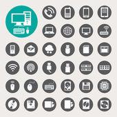 Mobil eszközök, a számítógép és a hálózati kapcsolatok ikonjai