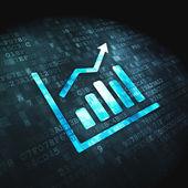Finanční koncept: graf růstu na digitální pozadí