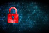 Bezpečnostní koncepce: zavřené visacím zámkem na digitální pozadí